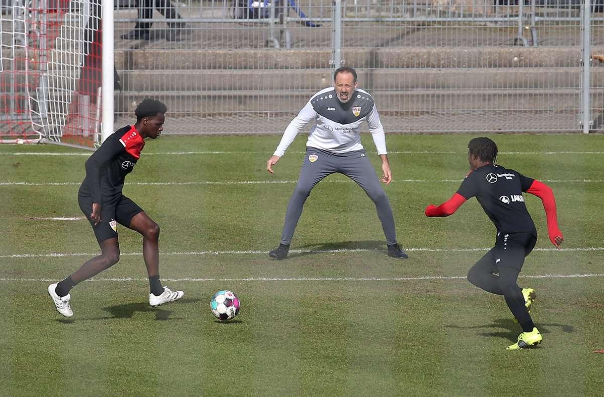 Voller Einsatz bei Pellegrino Matarazzo und dem VfB Stuttgart. Foto: Pressefoto Baumann/Alexander Keppler