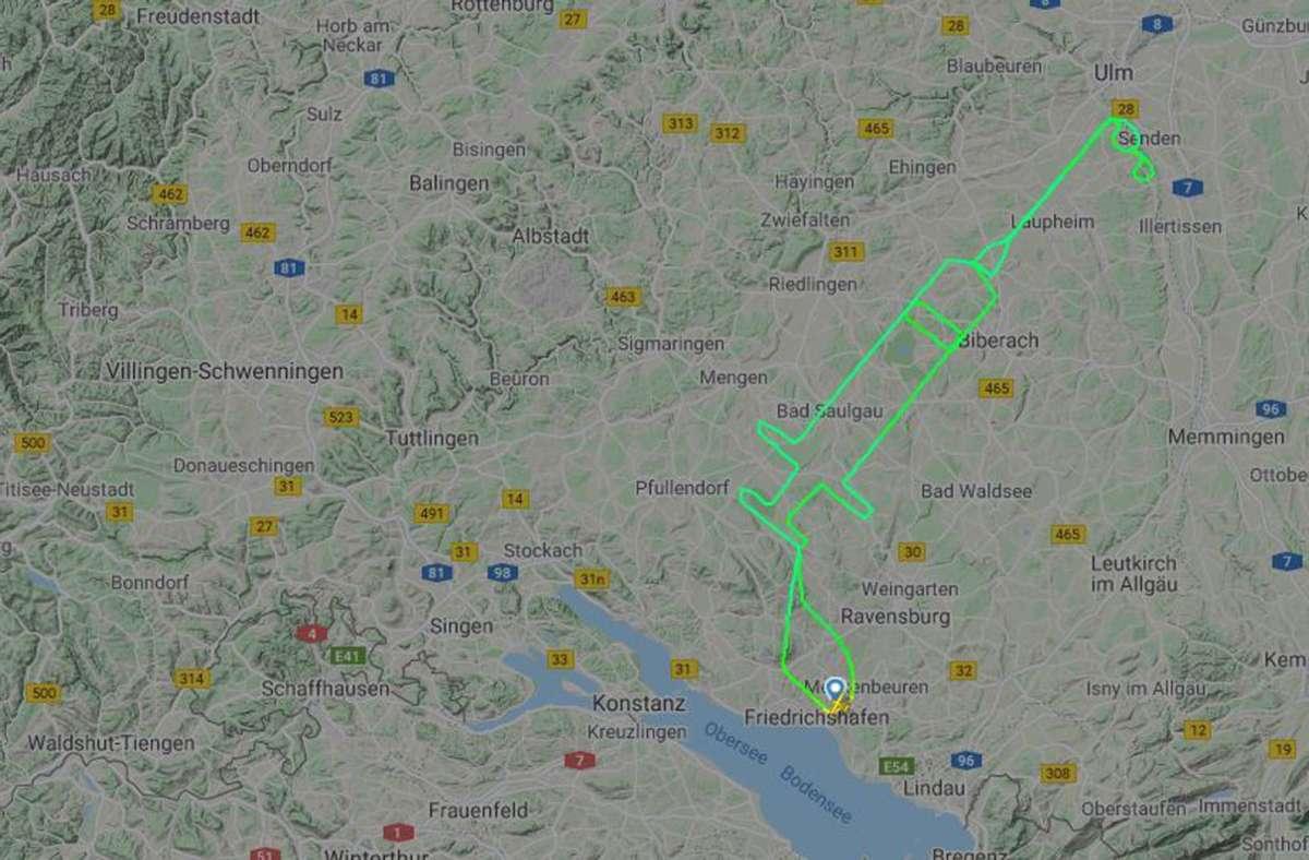 Die Flugroute des Piloten ist von dem Internetportal Flightradar24 aufgezeichnet worden. Foto: Courtesy of Flightradar24