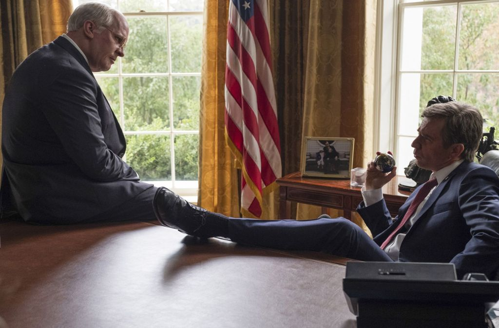 """Vice"": Christian Bale als Dick Cheney (links), Sam Rockwell als George W. Bush Foto: Verleih"