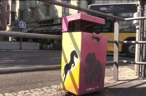 Bunte Mülleimer sollen Stuttgart schöner machen