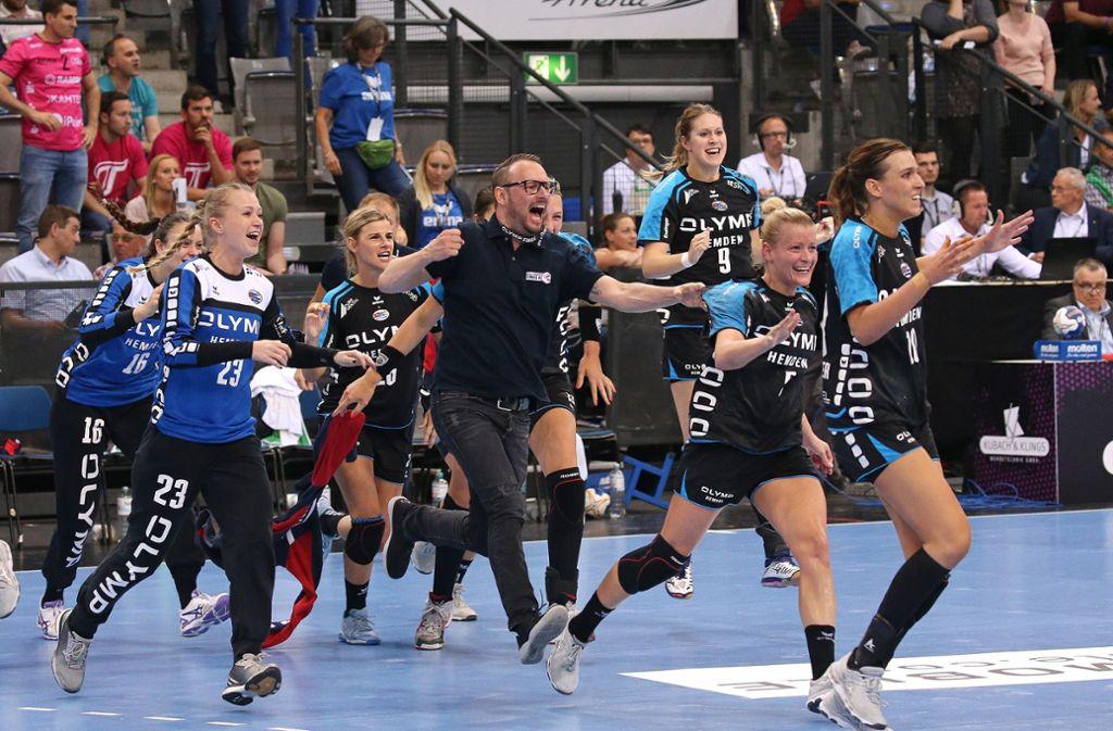 Bietigheimer Jubel beim Final Four in Stuttgart. Foto: Pressefoto Baumann