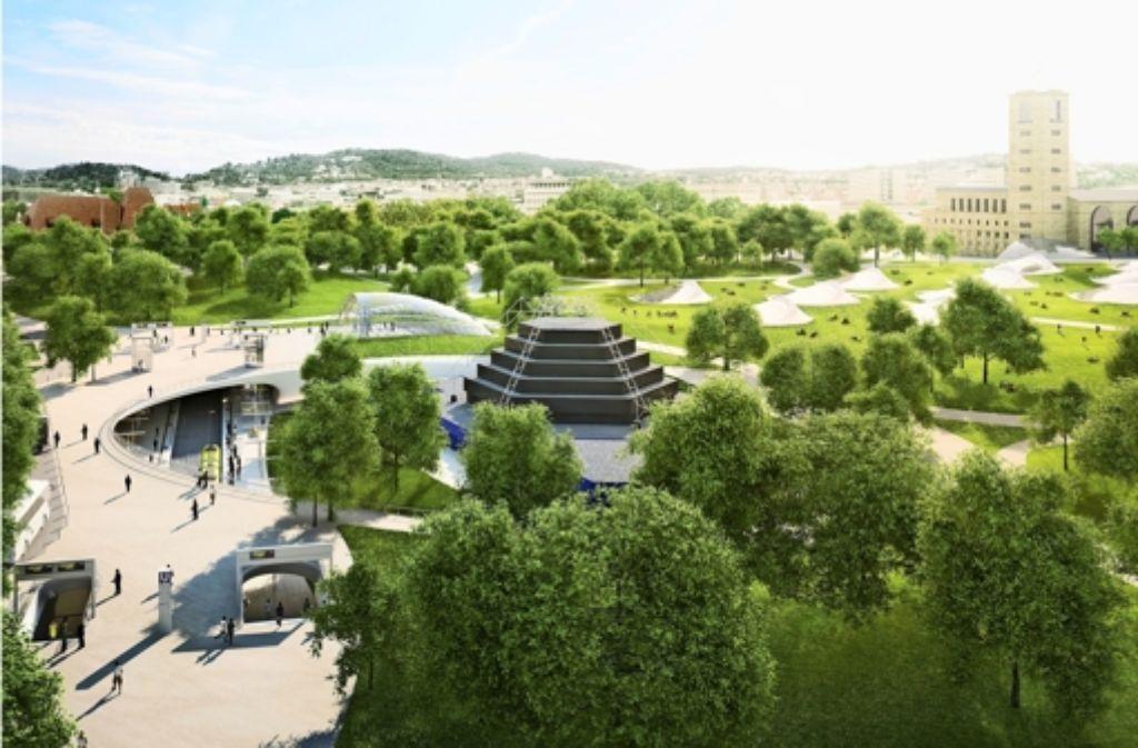 So soll die neue Haltestelle am Planetarium aussehen. Notwendig wird sie wegen dem Großprojekt Stuttgart21. Foto: