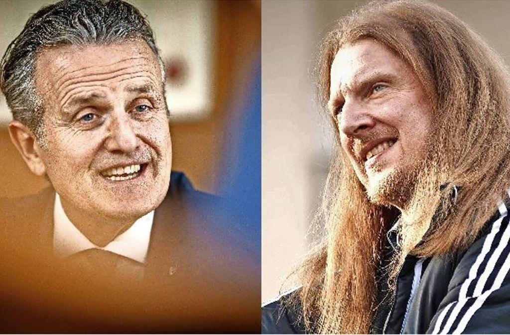 Der Backnanger CDU-OB Frank Nopper (links) und sein einziger Herausforderer Volker Dyken von den Piraten Foto: Gottfried Stoppel