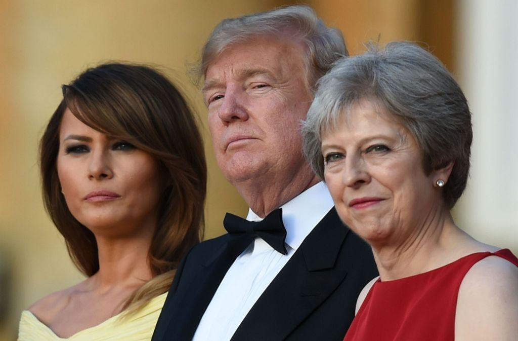 US-Präsident Donald Trump mit Ehefrau Melania (links) und der britischen Premierministerin Theresa May. Foto: AFP
