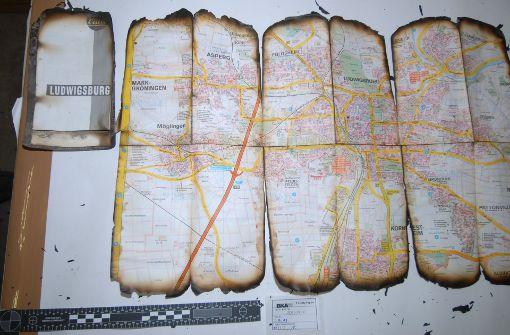 Im Brandschutt des NSU-Unterschlupfs fand sich ein Stadtplan von Ludwigsburg. Foto: StZ