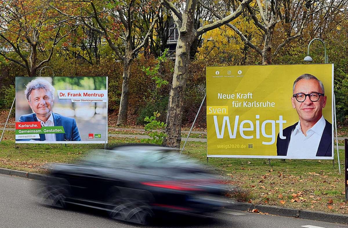 Frank Mentrup bleibt weitere acht Jahre OB in Karlsruhe. Sein stärkster Gegenkandidat Sven Weigt konnte keinen zweiten Wahlgang erzwingen. Foto: dpa/Uli Deck