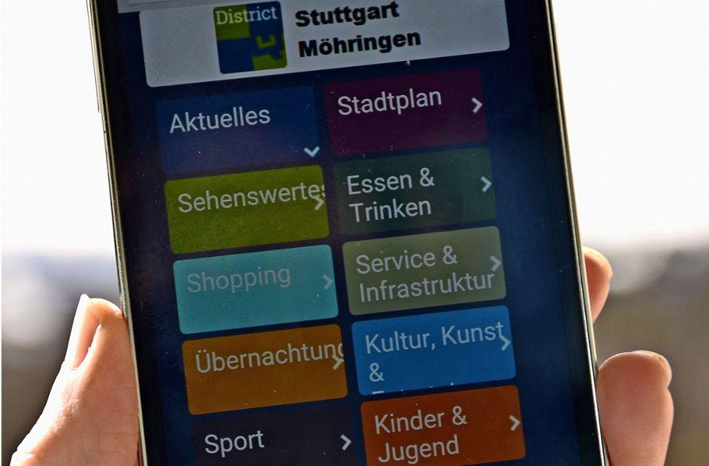 Der Nutzer findet in der  App einen Überblick über die Angebote und Einrichtungen in Möhringen. Foto: Fatma Tetik