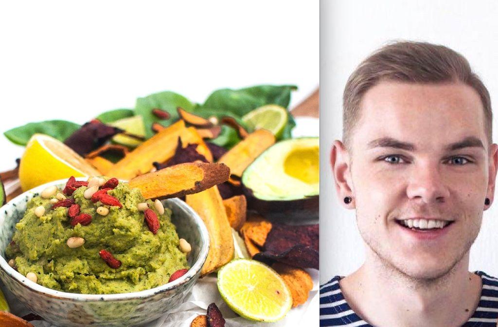 Wenn Blogger Marcel Buchstaller mal keine Lust hat, zum Supermarkt zu gehen, entsteht u.a. ein leckeres Hummus aus Spinat und Avocado - Reste, die der 22-Jährige im Kühlschrank fand. Foto: privat