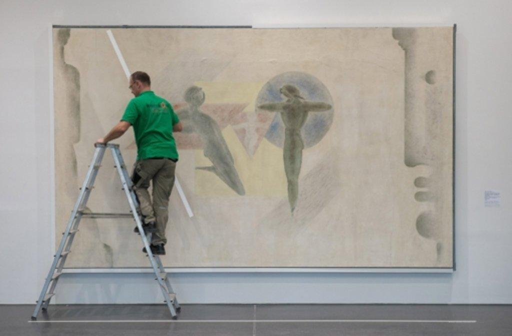 """""""Familie"""" von Oskar Schlemmer hängt nun in der Staatsgalerie. Foto: dpa"""