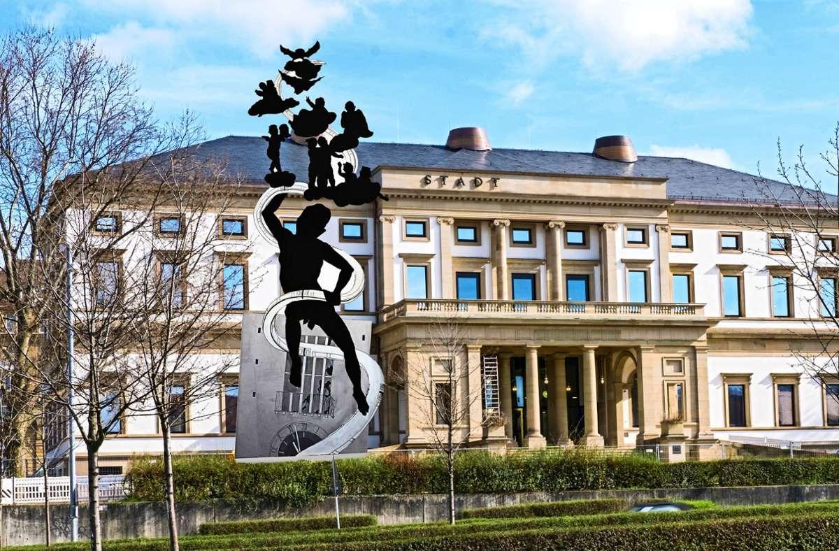 Sein Denkmal passe gut zum klassizistischen Stadtpalais, findet der Künstler Peter Lenk. Foto: /Joachim E. Roettgers GRAFFITI
