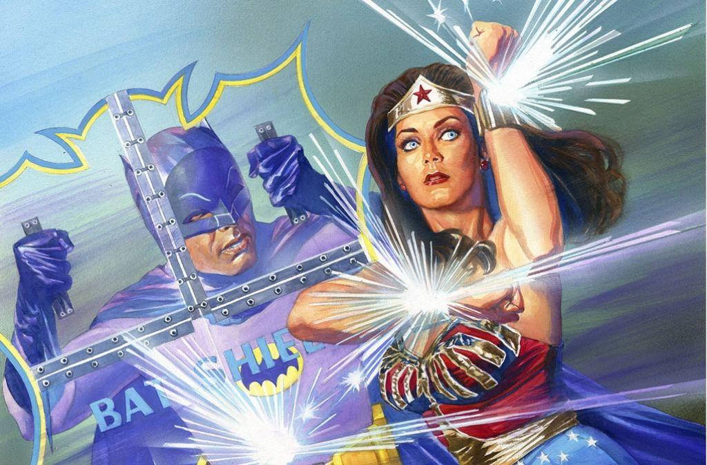 Batman und Wonder Woman im Kampf gegen die Bösen (Comic-Zeichnung aus den 1960ern). Foto: