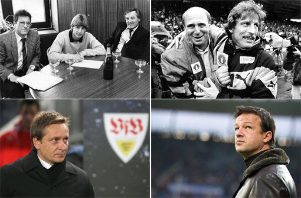 Von Ulrich Schäfer (links oben, ganz links) bis Fredi Bobic (rechts unten): Seit 1976 waren beim VfB Stuttgart neun Manager unter Vertrag (rechts oben: Dieter Hoeneß (links) mit Christoph Daum, links unten: Horst Heldt).  Foto: Pressefoto Baumann/dpa/SIR-Montage
