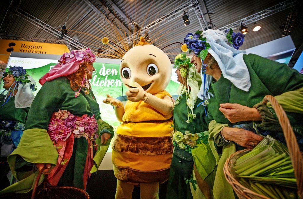 Bereits im vergangenen Jahr war das Gartenschau-Maskottchen Remsi auf der CMT anzutreffen. Foto: Gottfried Stoppel