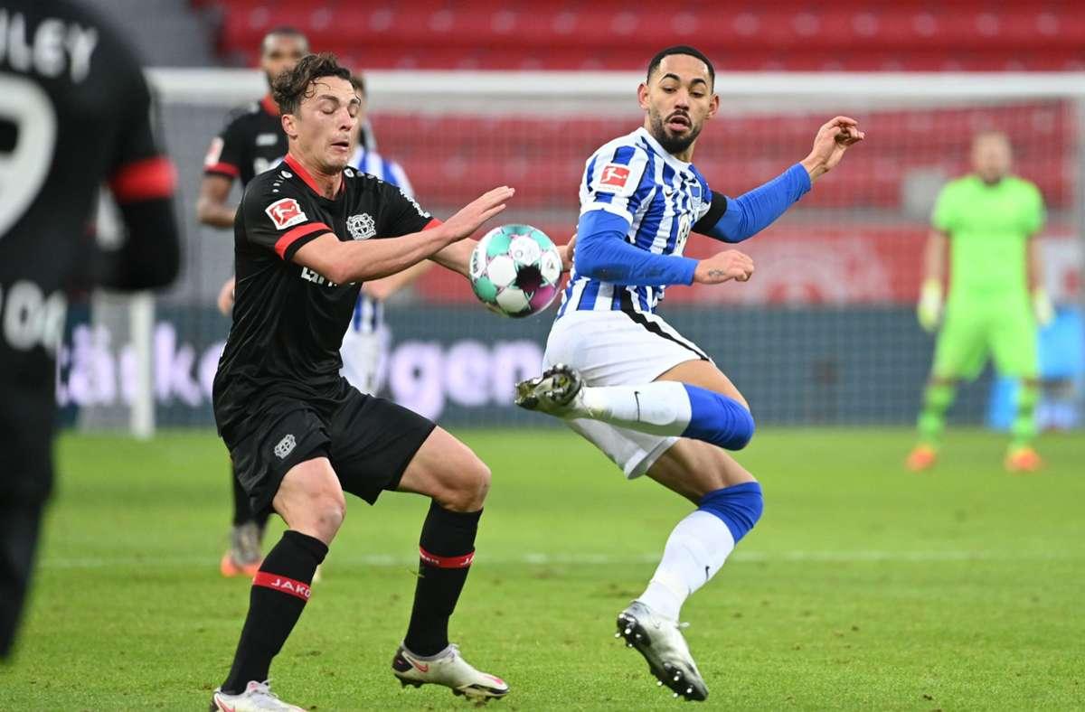 Bayer Leverkusen kam gegen Hertha BSC nicht über ein 0:0 hinaus. Foto: AFP/INA FASSBENDER