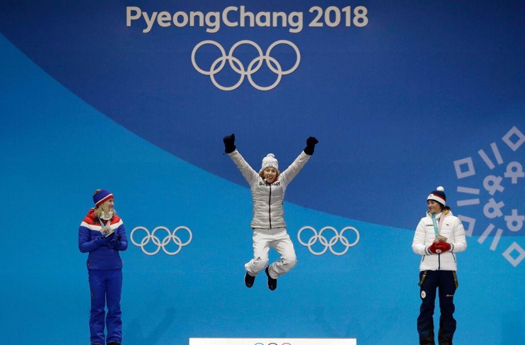 Die erste Goldmedaille soll für Laura Dahlmeier nur der Anfang sein. Foto: AP