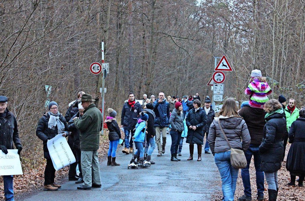 Zu der Demo im Naturschutzgebiet hatten der BUND und die Greutterwald-Initiative aufgerufen. Foto: Martin Braun