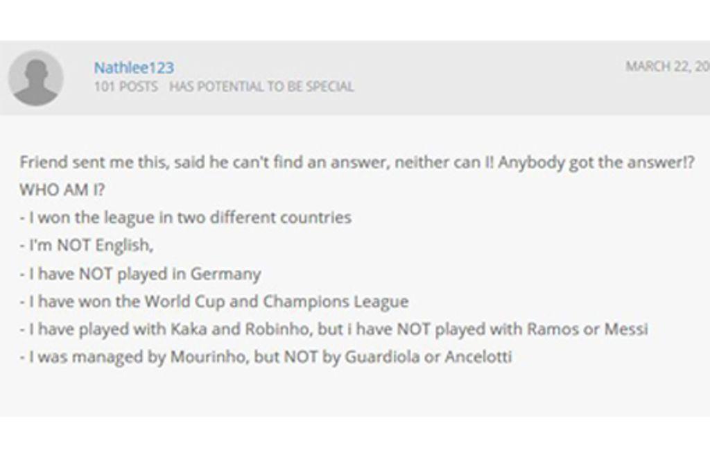 """""""Who Am I?"""" Dieses Rätsel beschäftigt das Fußball-Netz. Foto: Screenshot//fifaforums.easports.com"""
