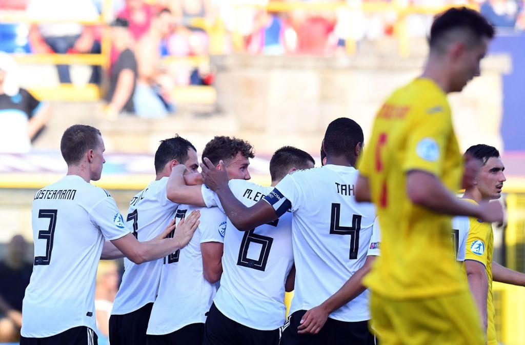 Viermal hatten die deutschen Nachwuchsfußballer Grund zum Jubel. Foto: Getty Images