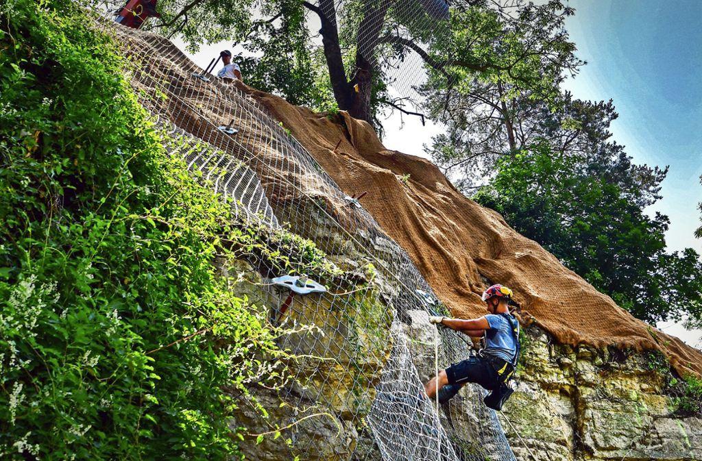 Seit Wochenbeginn wird ein Steinschlagschutznetz über den Felsen gezogen. Foto: Martin Kalb