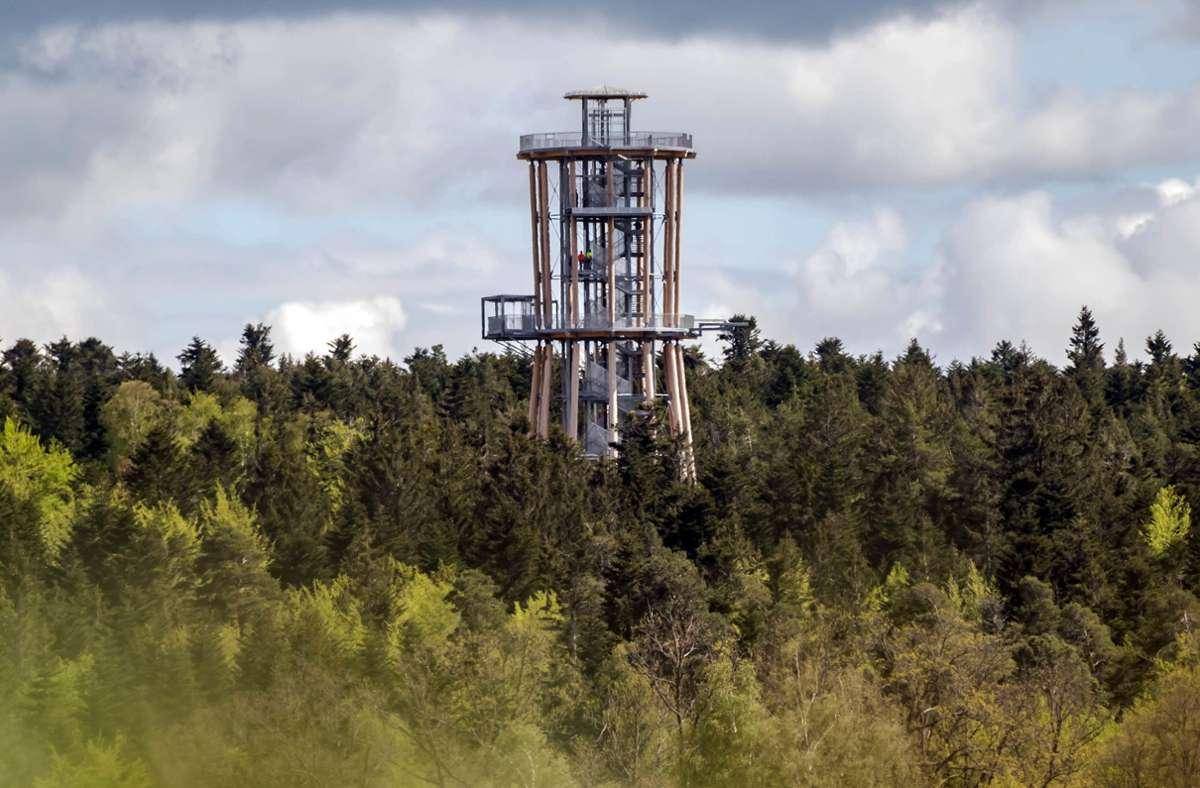 Der Aussichtsturm Himmelsglück ragt aus einem Waldstück im Nordschwarzwald. Foto: dpa/Uli Deck