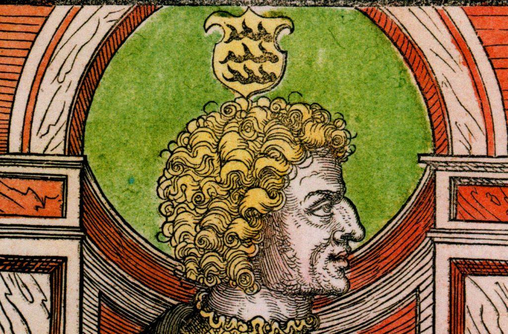 Herzog Ulrich von Württemberg auf einem Stich von 1520 Foto: Katalog