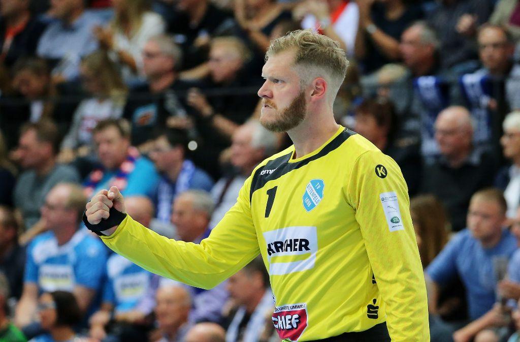 Torhüter Jogi Bitter zeigte eine starke Leistung gegen die Füchse Berlin. Foto: Pressefoto Baumann