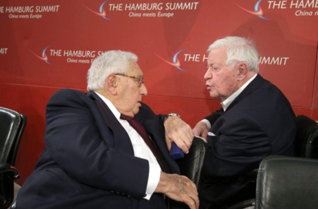 Sie sind Freunde: Henry Kissinger und Helmut Schmidt Foto: dpa