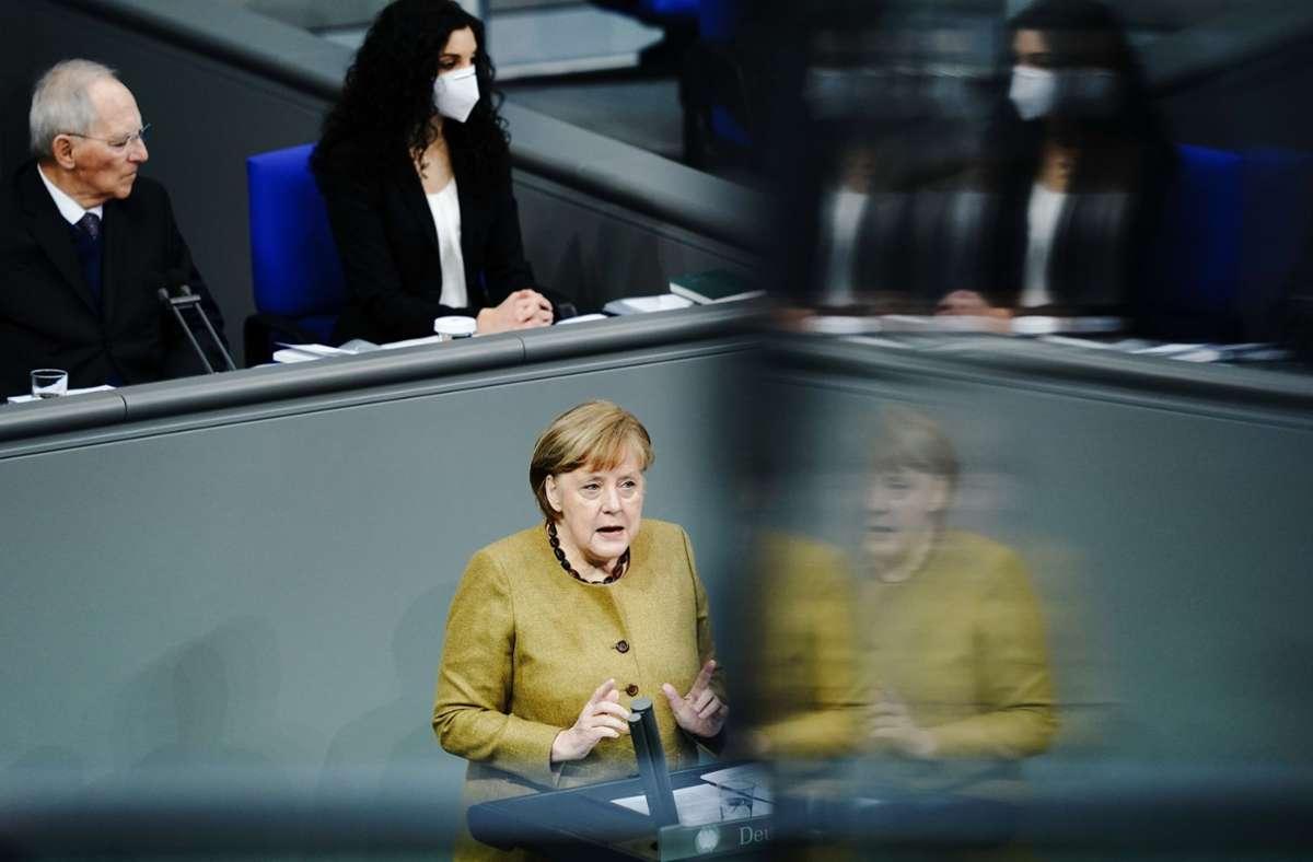 Angela Merkel verteidigt am Donnerstag die Lockdown-Verlängerung. Foto: dpa/Bernd von Jutrczenka