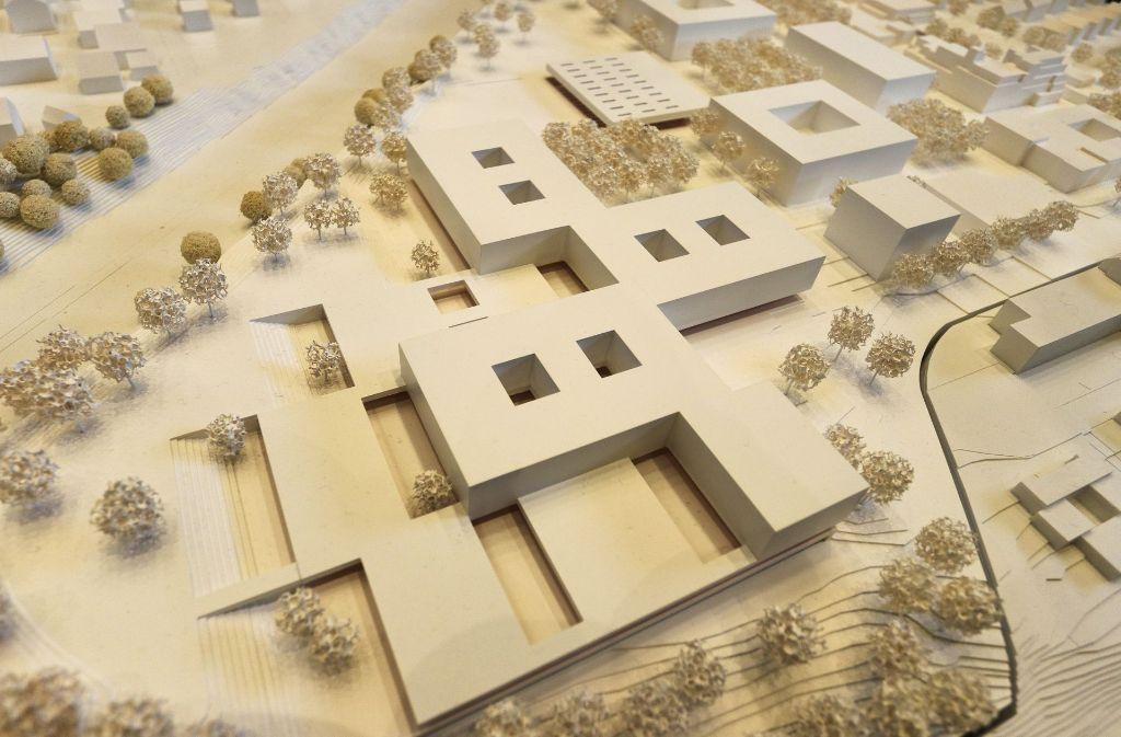 Der Plan des Kölner Architektenbüro mvm+starke zum Schulneubau der Oscar-Paret-Schule im Freiberger Zentrum. Foto: factum/Granville