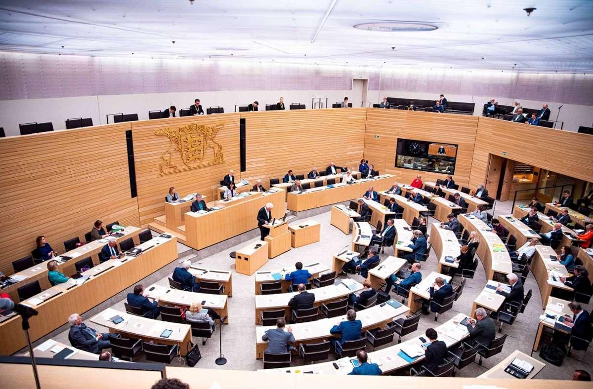 Plenarsitzung im Landtag – am 14. März findet wird der Landtag neu gewählt. Foto: imago images/7aktuell/7aktuell.de M. Gruber via www.imago-images.de