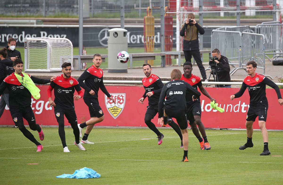Voller Fokus beim Training des VfB Stuttgart. Foto: Pressefoto Baumann/Alexander Keppler