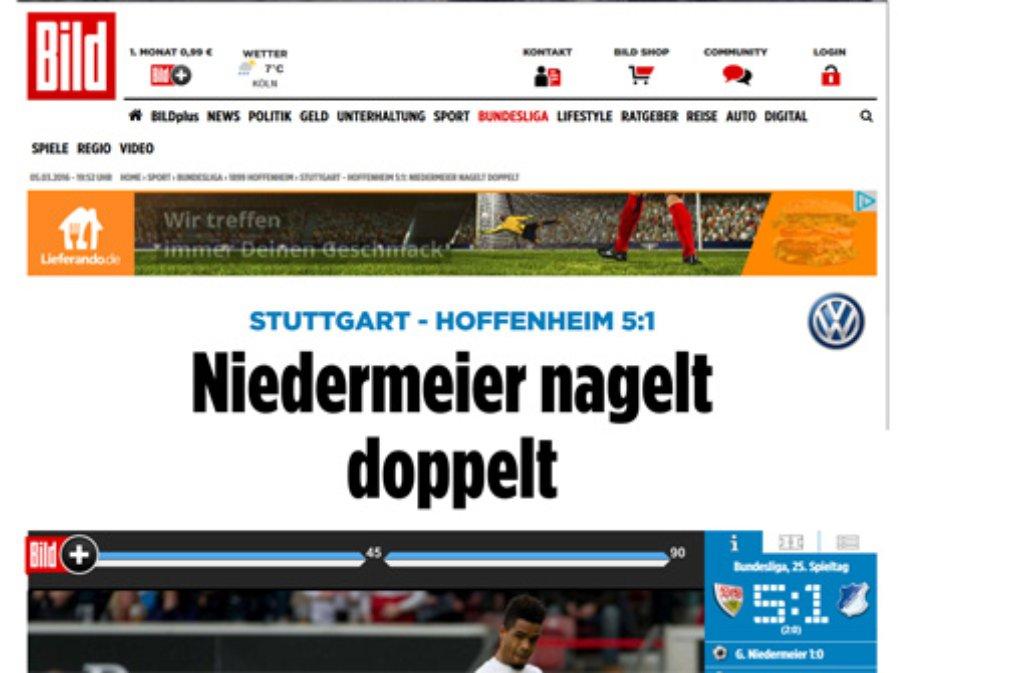 Bild schreibt: Stuttgart kanns doch noch! Nach den Niederlagen gegen Hannover (1:2) und Gladbach (0:4) feiert der VfB eine 5:1-Gala gegen Hoffenheim.  Foto: Screenshot