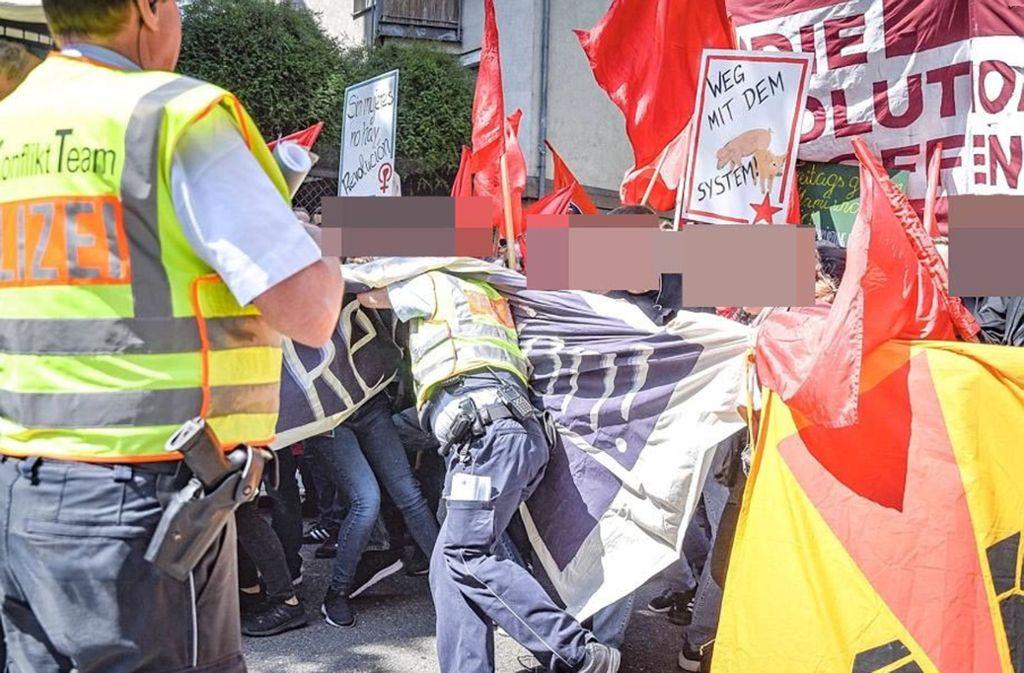 Die Maidemo in Stuttgart-Mitte ist am Mittwochmittag eskaliert. Foto: 7aktuell.de