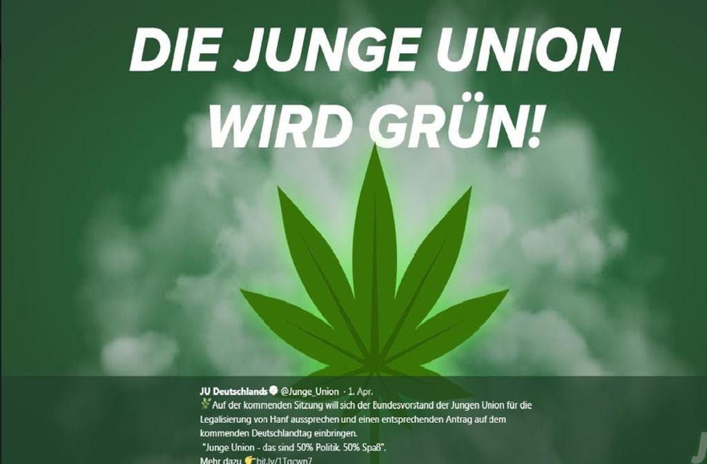 Dieses Bild hatte die Junge Union Deutschlands am 1. April auf Twitter gepostet. Foto: Screenshot/JU Deutschland