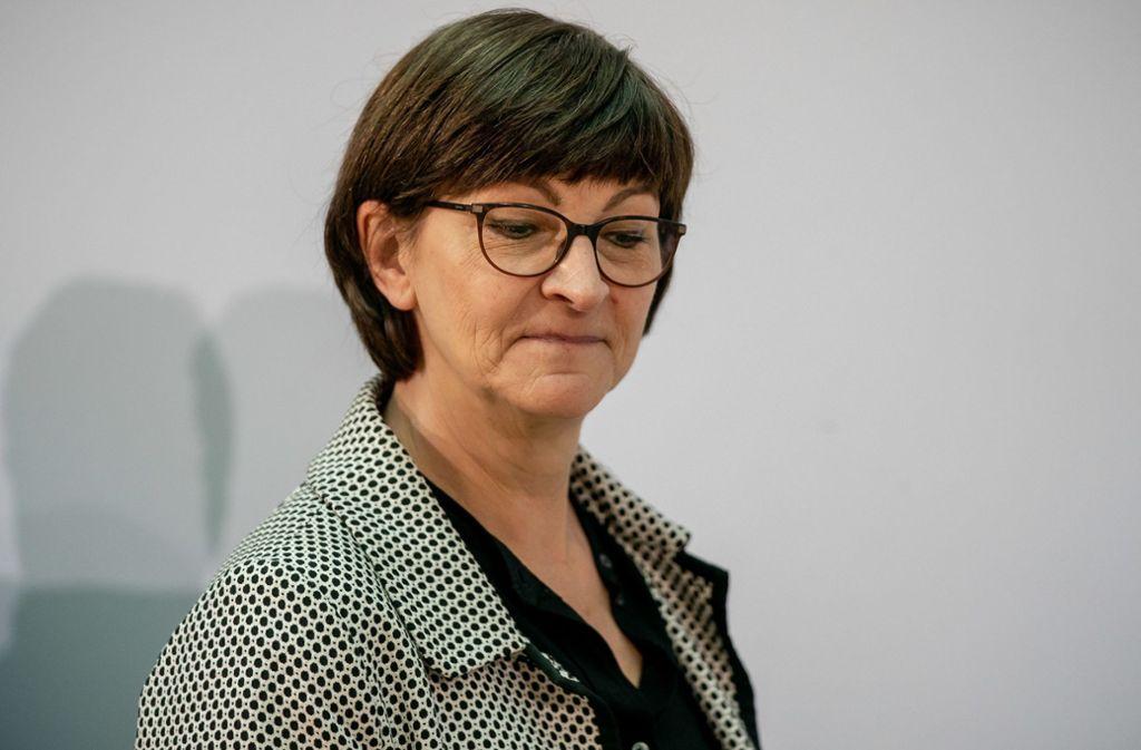 Die neue SPD-Vorsitzende Saskia Esken. Foto: dpa/Michael Kappeler
