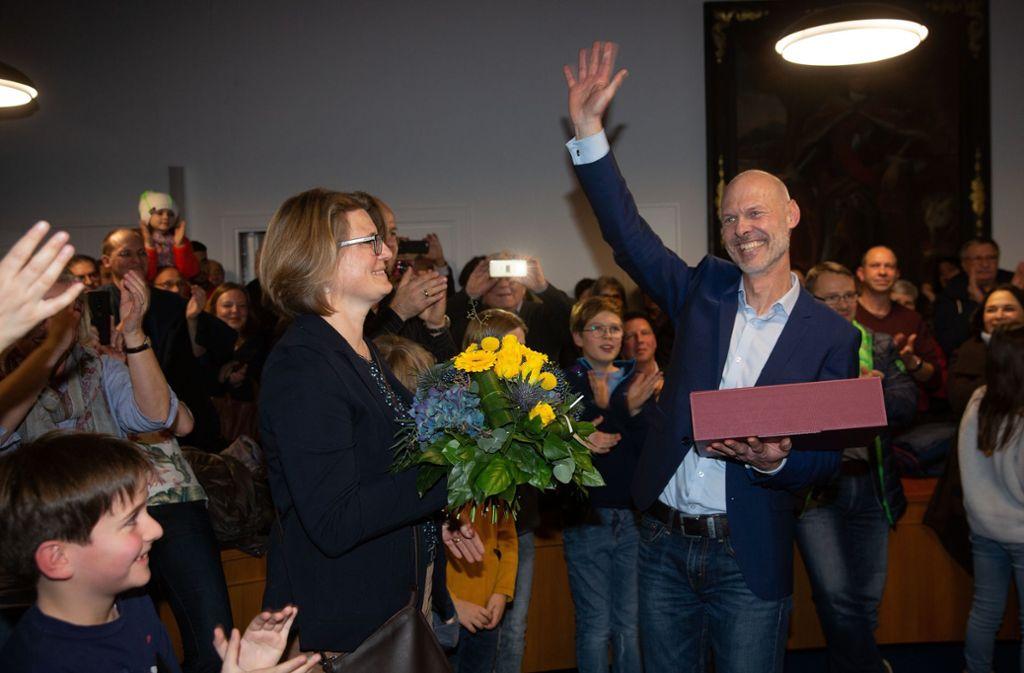 Strahlender Wahlsieger – Pascal Bader wird als Oberbürgermeister ins Kirchheimer Rathaus einziehen. Foto: Horst Rudel/Horst Rudel
