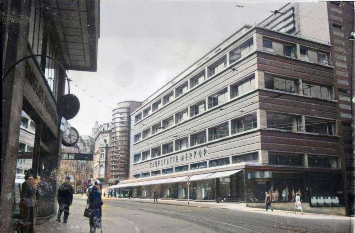 Aus dem Bilderfundus: das Kaufhaus Schocken Foto: Stadtarchiv Stuttgart/Einfärbung Simon Uhl