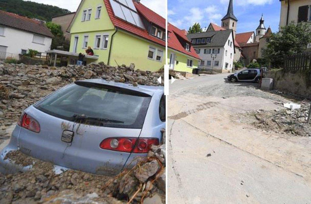 Vor drei Monaten war in Braunsbach die Zerstörung durch eine Schlammlawine noch immens. Vorher-Nachher-Bilder zeigen die Ergebnisse der Aufräumarbeiten nach der Schlamm- und Geröll-Lawine. Foto: Screenshot/StZN