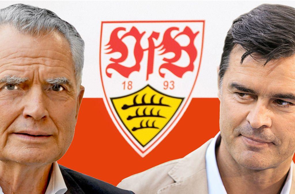 VfB-Chef Wolfgang Dietrich schaut in eine ungewisse Zukunft und sieht sich Thomas Berthold (rechts) gegenüber. Foto: picture alliance / Deniz Calaganngst,