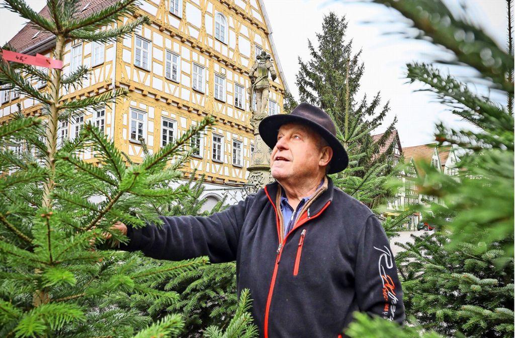 Erich Rettenmaier verkauft seit 50 Jahren Christbäume auf dem Leonberger Marktplatz. Foto: factum