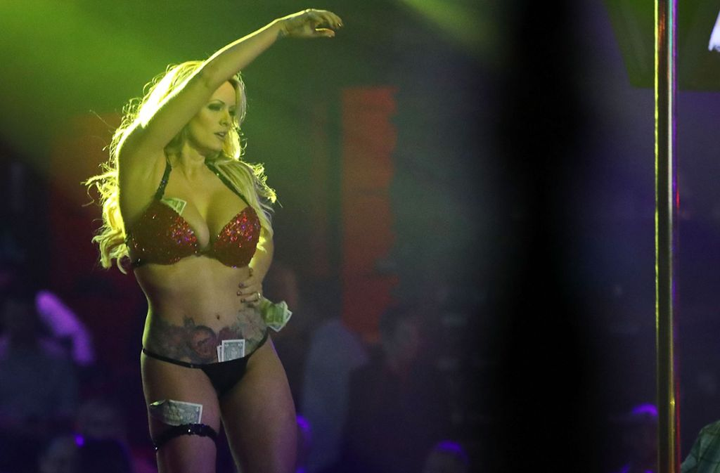 Stephanie Clifford, bekannt unter ihrem Künstlernamen Stormy Daniels, bei einem Auftritt im Solid Gold Fort Lauderdale Strip-Club in Pompano Beach, Florida, im Mai dieses Jahres. Foto: Getty