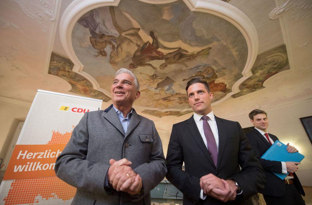 Der CDU-Landesvorsitzende Thomas Strobl (li.) und Generalsekretär Manuel Hagel im Kloster Schöntal Foto: dpa