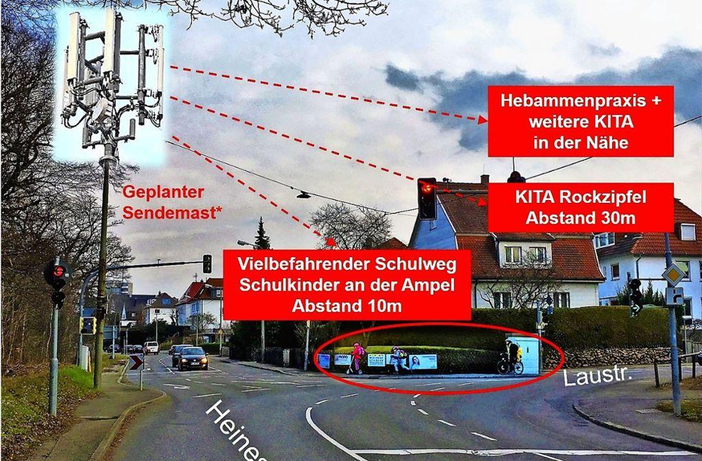 Einige Sonnenberger kritisieren den geplanten Sendemast. Ob er tatsächlich so aussehen wird, wie in der Fotomontage eines Bürgers dargestellt, ist fraglich. Foto: privat