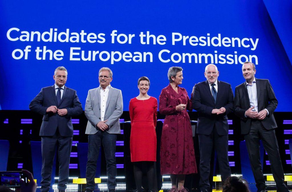 Sechs Politiker debattierten beim Kandidatenduell am Mittwochabend. Foto: AFP