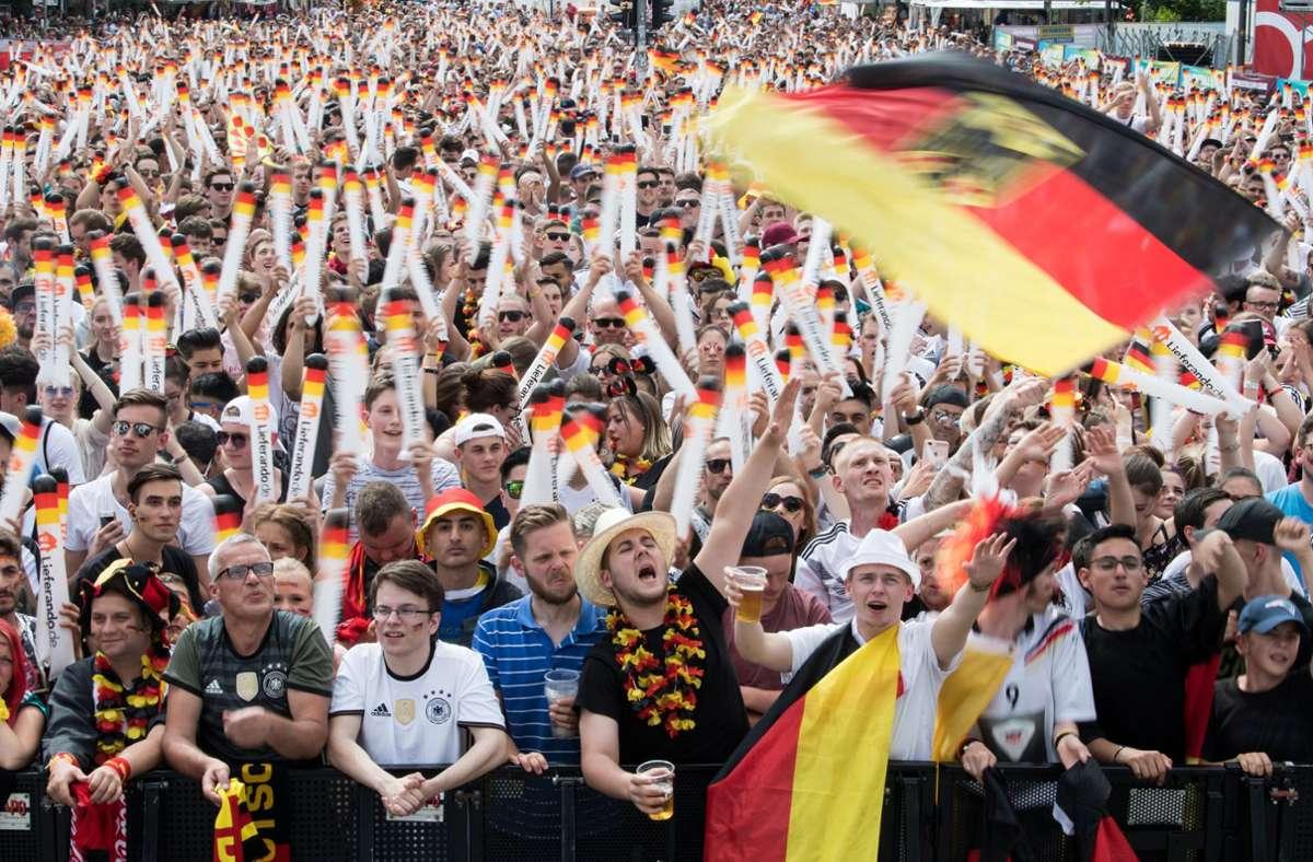 Das Foto aus dem Jahr 2018 entstand beim Public Viewing zur Fußball-WM. Solche Veranstaltungen wird es in diesem Jahr im Südwesten nicht geben. (Archivbild) Foto: dpa/Bernd von Jutrczenka