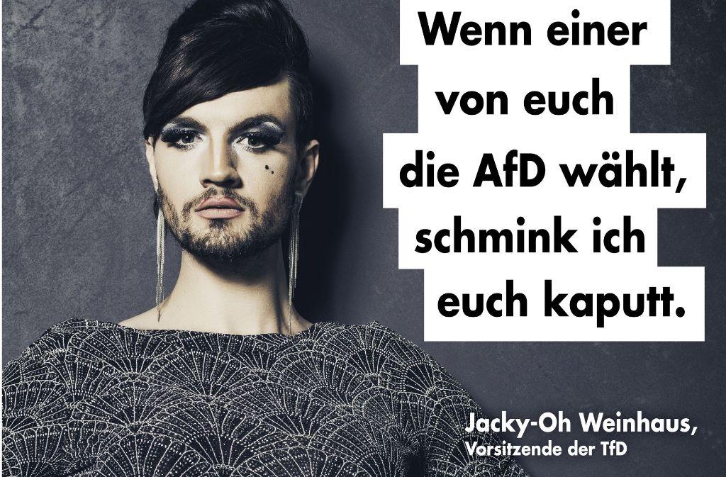 Auf Facebook wurden die Plakate schon fast 2.000 Mal geteilt. Foto: Steven P. Carnarius/Travestie für Deutschland