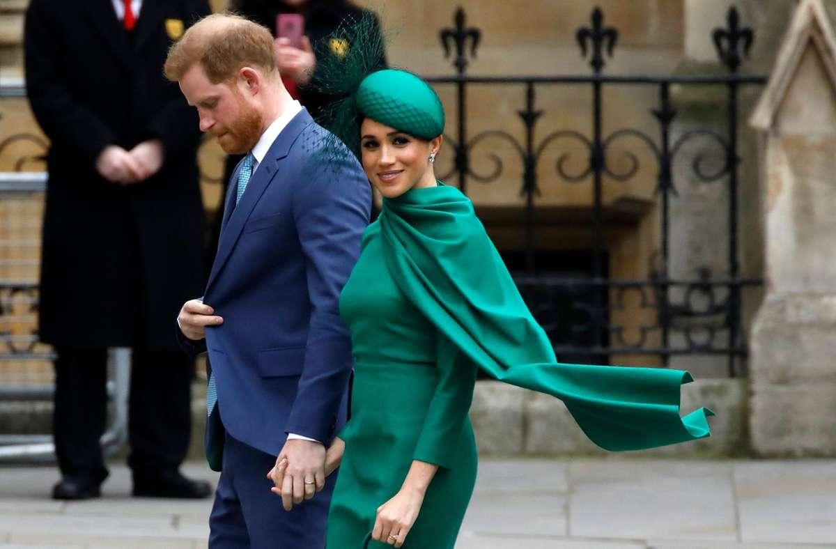 Prinz Harry und seine Frau Meghan am 9. März 2020 beim jährlichen  Commonwealth Service vor  Westminister Abbey Foto: AFP/Tolga Akmen