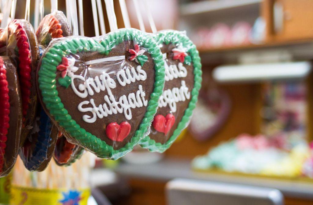 Ein Lebkuchenherz als Mitbringsel für Daheimgebliebene vom Frühlingsfest in Stuttgart. Foto: 7aktuell.de/David M. Skiba