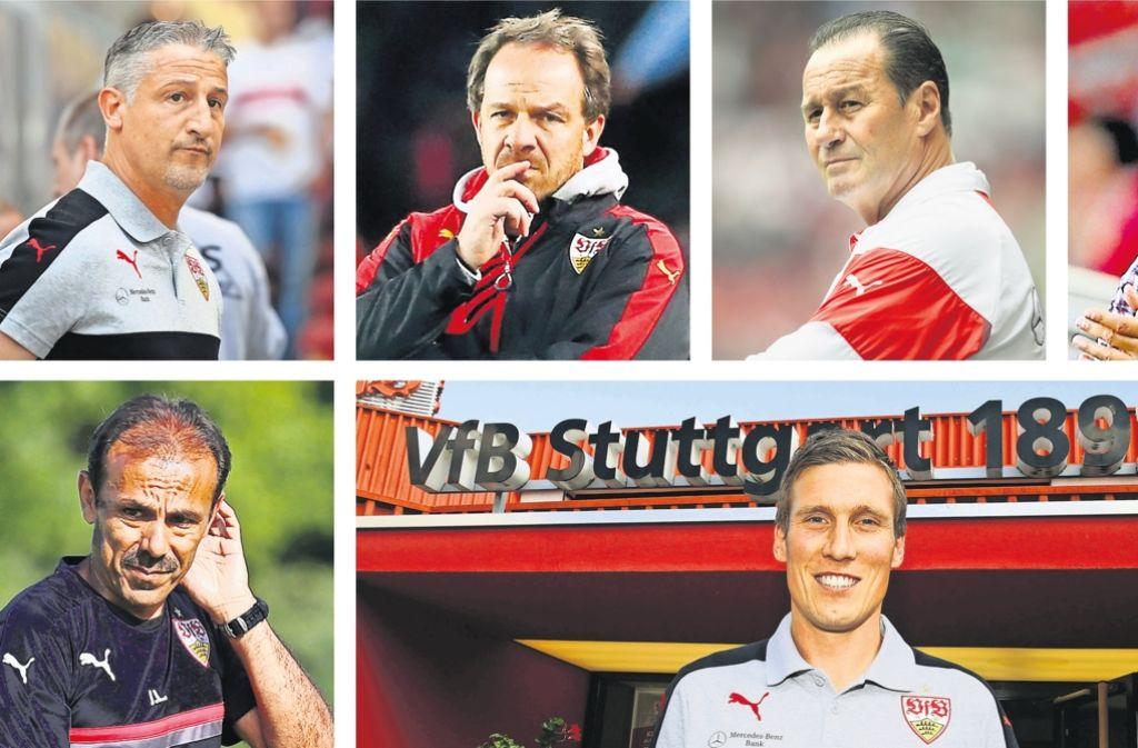 Die VfB-Trainerrochaden: Von Jürgen Kramny über Alexander Zorniger, Huub Stevens und Armin Veh (obere Reihe, v. li.) bis zu Jos Luhukay (li.) und aktuell zu Hannes Wolf Foto:
