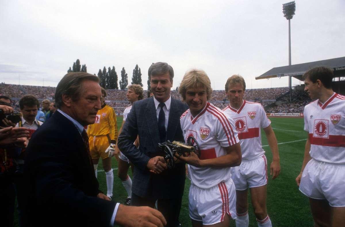 1987/88: Jürgen Klinsmann, VfB Stuttgart, 19 Tore Foto: Baumann